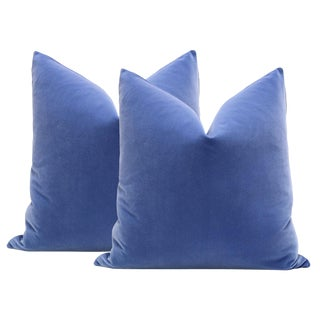 "22"" Calypso Blue Velvet Pillows - A Pair"