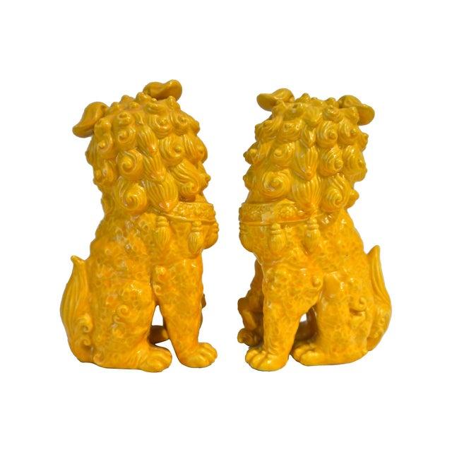 Yellow Ceramic Foo Dog - Pair - Image 4 of 5