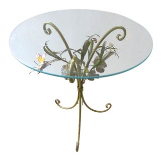 Mid-Century Modern Italian Floral Tole Side Table