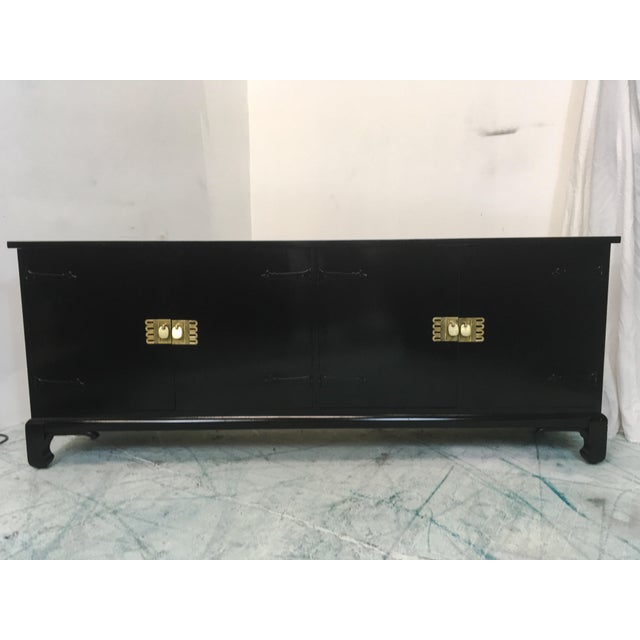 Asian Style Black Lacquered Credenza - Image 2 of 7