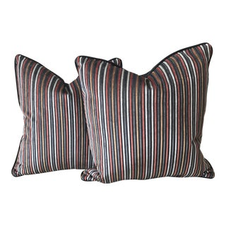 Striped Cut Velvet Pillows - A Pair