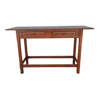 Primitive Style Reproduction Soft Wood 2 Drawer Console Wall Table