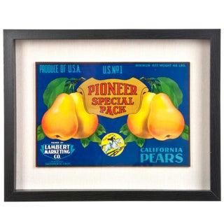 Framed Vintage Pioneer Pears Crate Label