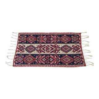 Antique Kilim Rug with Braided Fringe
