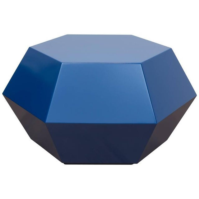 Lacquered Navy Faceted Cocktail Table - Image 6 of 6