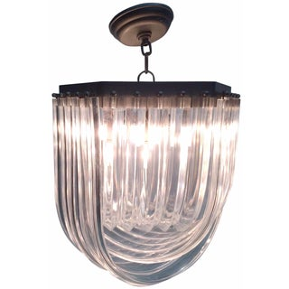 Layered Ribbed Lucite Chandelier