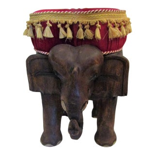 Carved Elephant Stool With Red Tassel Cushion