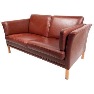 Mid-Century Modern Danish Leather Loveseat