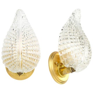 Murano Glass Leaf and Brass Wall Sconces