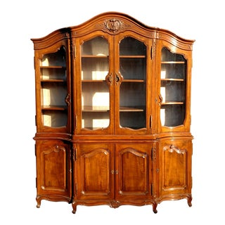Antique FRENCH PROVINCIAL Carved WALNUT BREAKFRONT Bookcase VITRINE China Cabinet