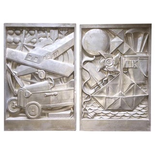 Albert Binquet, A pair of Art Deco silver patinated high relief plaster plaques