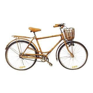 Mid Century Modern Bamboo & Rattan Bicycle Franco Albini Style Boho Beach Bike
