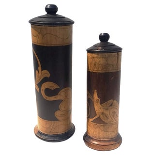 Vintage Greek Wood Canisters - A Pair