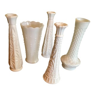 Milk Glass Vases - Set of 5