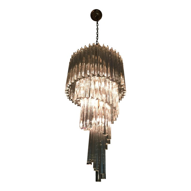 Vintage Spiral Glass Chandelier with Tri-Points - Image 1 of 4