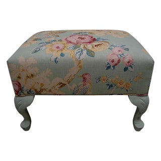 English Cottage Print Footstool Ottoman Bench