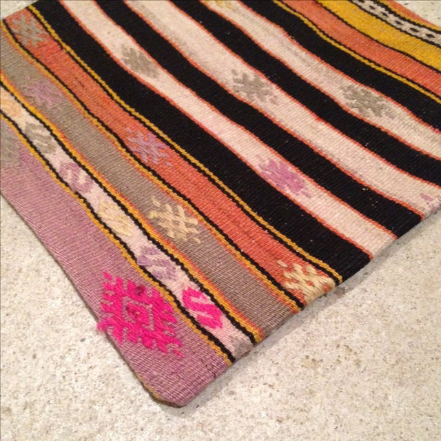 Vintage Striped Kilim Pillow Case - Image 3 of 5