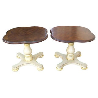 Drexel Quatrefoil Pedestal End Tables - Pair