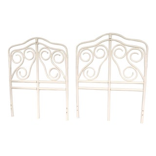 Vintage White Bentwood Rattan Twin Headboards - a Pair