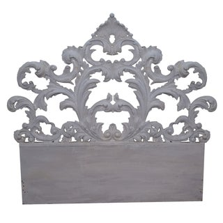 Vintage Rococo Painted Carved Wood Queen Headboard