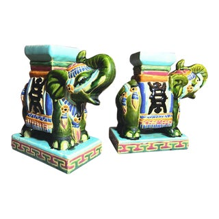 Pair of South Vietnam Vintage Porcelain Elephants