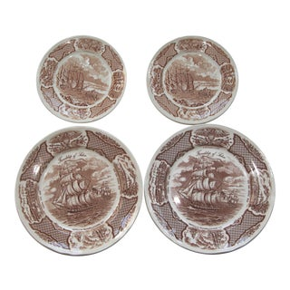 Fair Winds Staffordshire Brown Transfer Ware Four Winds Plates - Set of 4