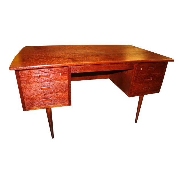 1960s Danish Mid-Century Rosewood Desk with Curved Top - Image 1 of 8