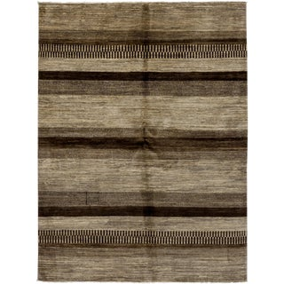 """New Gabbeh Hand Knotted Area Rug - 5' x 6'8"""""""