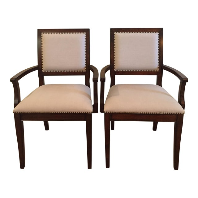 Two Dining Chairs With Arms - A Pair