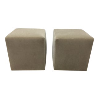 Stone Gray Mohair Ottomans - A Pair