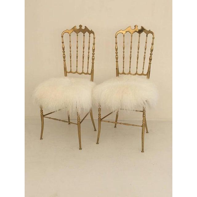 Italian Brass Chiavari Chair in Mongolian Fur - Image 4 of 10