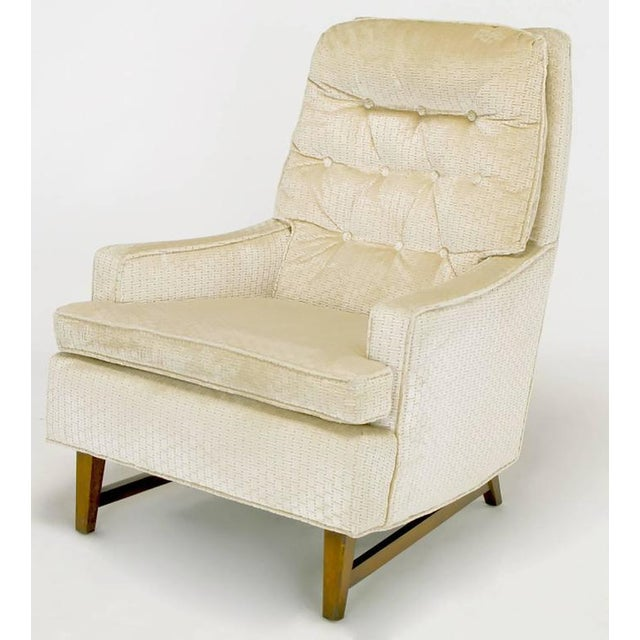 Pair of 1960s High Back Ivory Cut Velvet Lounge Chairs after Harvey Probber - Image 4 of 9