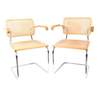 Breuer Cesca Style Caning Armchairs - A Pair