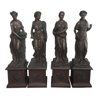 Stone Appearance the Seasons Lady Sculptures - Set of 4