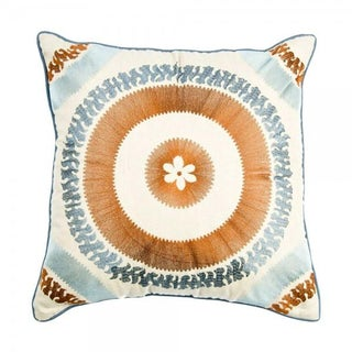 Blue Embroidered Moroccan Pillow