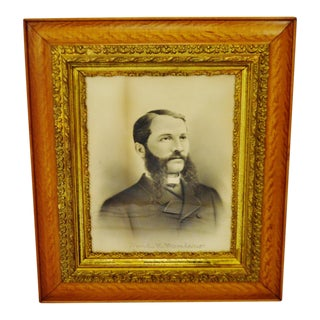 Antique Oak and Carved Gilt Wood Frame with Charcoal Portrait