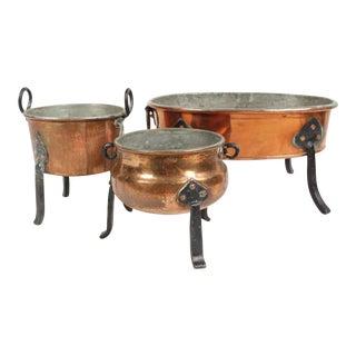 Copper Fondue Pots - Set of 3