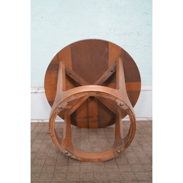 Lane Mid-Century Modern Round Walnut Side Table - Image 6 of 10