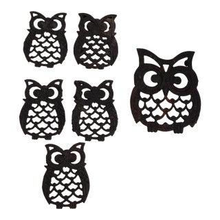 Vintage Cast Iron Owl Trivets - Set of 6