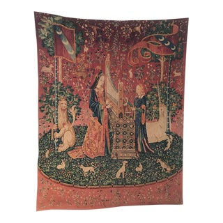 "Antique French Dame à la licorne ""The Lady Unicorn"" Hand Woven Tapestry"