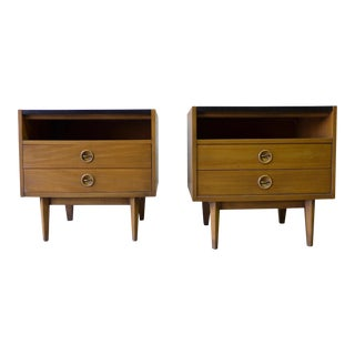American of Martinsville Mid-Century Walnut Nightstands - A Pair