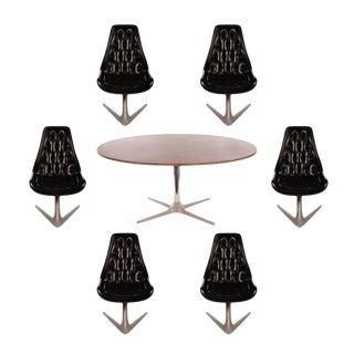 Chromcraft Sculpta Dining Room Set with Six Black Swivel Chairs