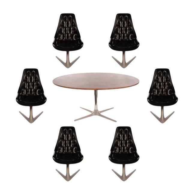 Chromcraft Sculpta Dining Room Set with Six Black Swivel Chairs - Image 1 of 10