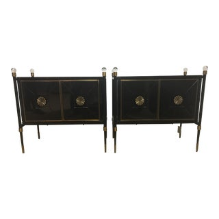 Jonathan Adler Rider Hollywood Regency Black Lacquered Cabinets- A Pair