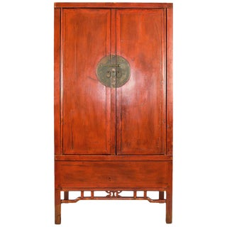 Large Antique Chinese Red Armoire Wedding Cabinet