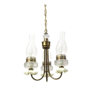 Three Light Vintage Oil Style Chandelier