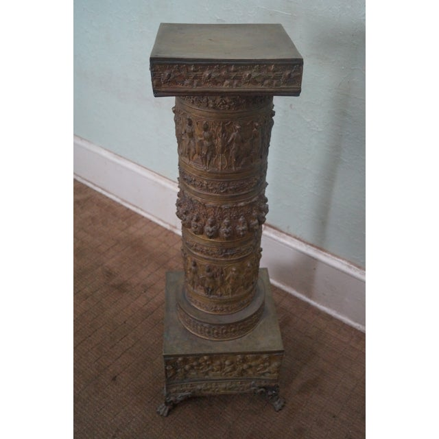 19th Century Brass Relief Neo Classical Pedestal - Image 2 of 10
