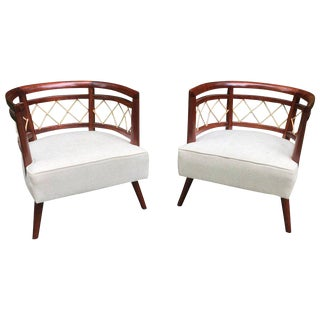 Stunning Pair of Barrel Back Mahogany Armchairs