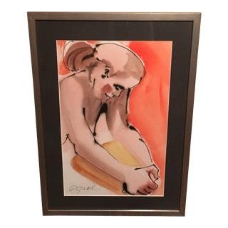 Framed Watercolor of Girl