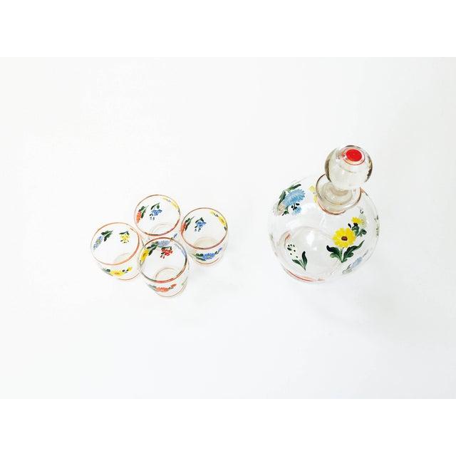 Vintage 5-Piece Floral Czech Decanter Set - Image 5 of 6